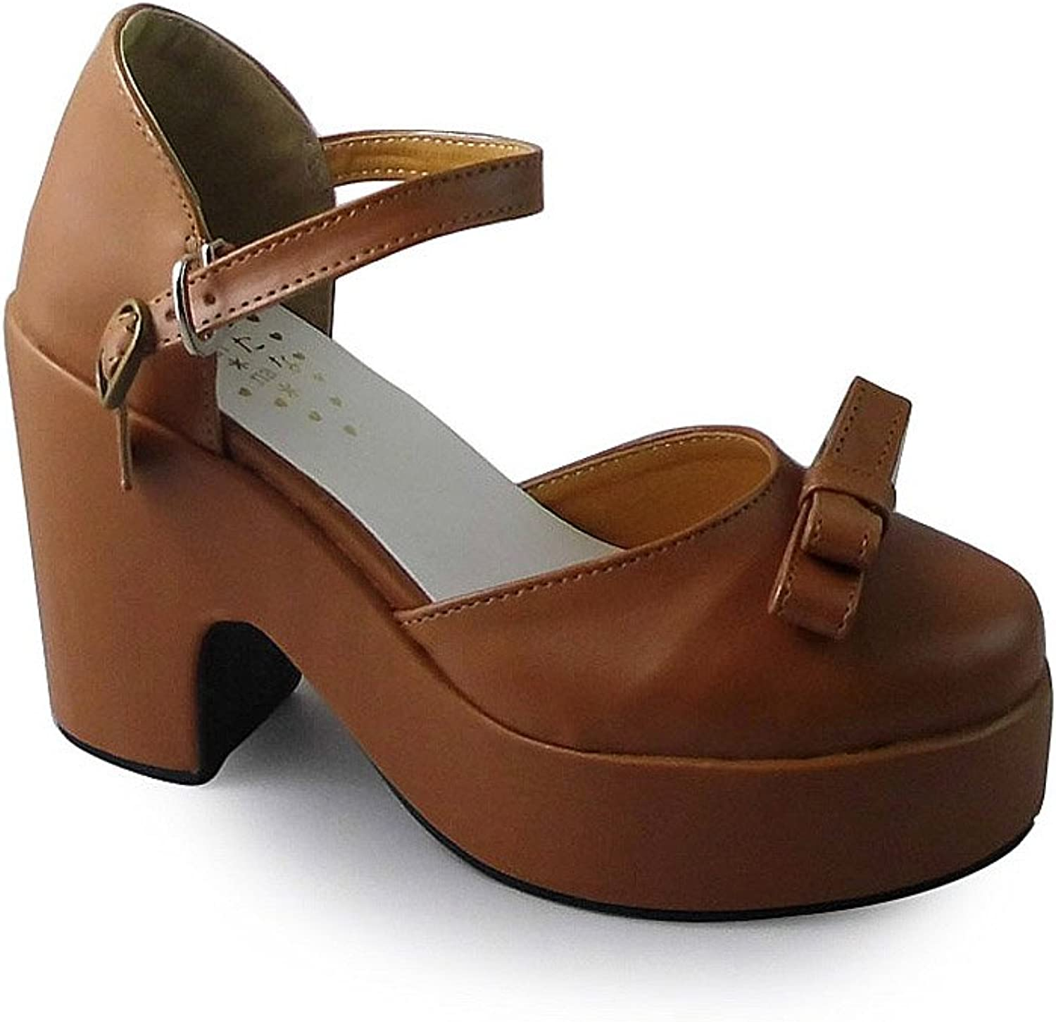 Antaina Mid Heel Brown PU Bow Chunky Lolita Platform Casual Sandals shoes