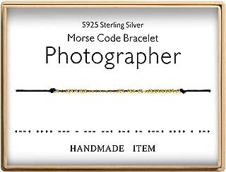 Morse Code Bracelet Photographer Bracelet 925 Sterling Silver Handmade 14K Real Gold Plated Bead Adjustable String Bracelets Birthday Gifts for Photo Lovers