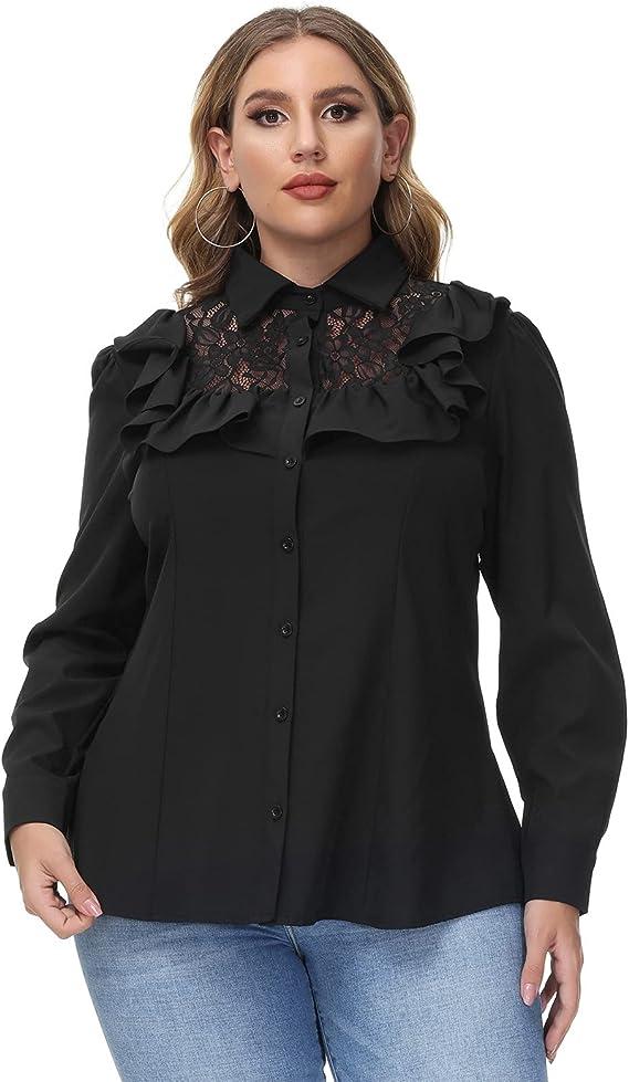Steampunk Plus Size Clothing & Costumes Hanna Nikole Womens Vintage Ruffle Blouse Button Down Shirt Plus Size Lace Patchwork Tops  AT vintagedancer.com