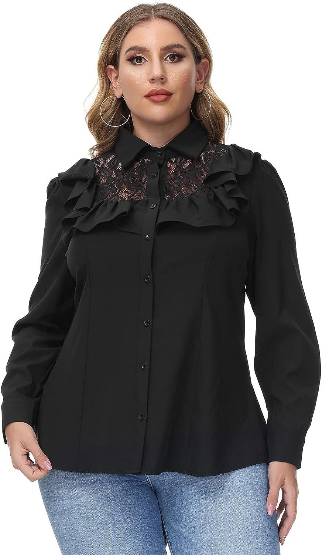 Hanna Nikole Women's Vintage Ruffle Blouse Button Down Shirt Plus Size Lace Patchwork Tops