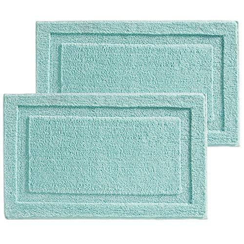 mDesign Accents - Badmat- voor douche, toilet en badkamervloer - sneldrogend/antislip/microvezel - verpakt per 2 stuks - mintgroen