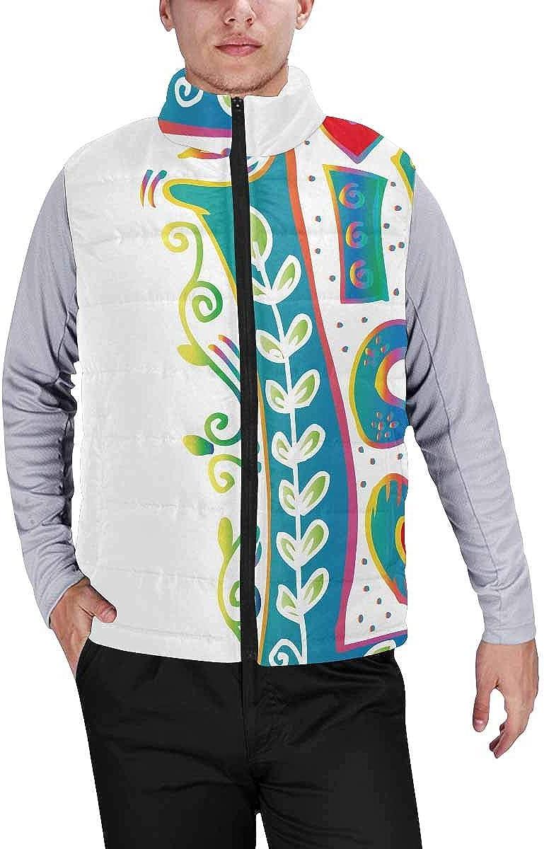 InterestPrint Winter Lightweight Personality Design Padded Vest for Men Little White Flowers on Brown Background