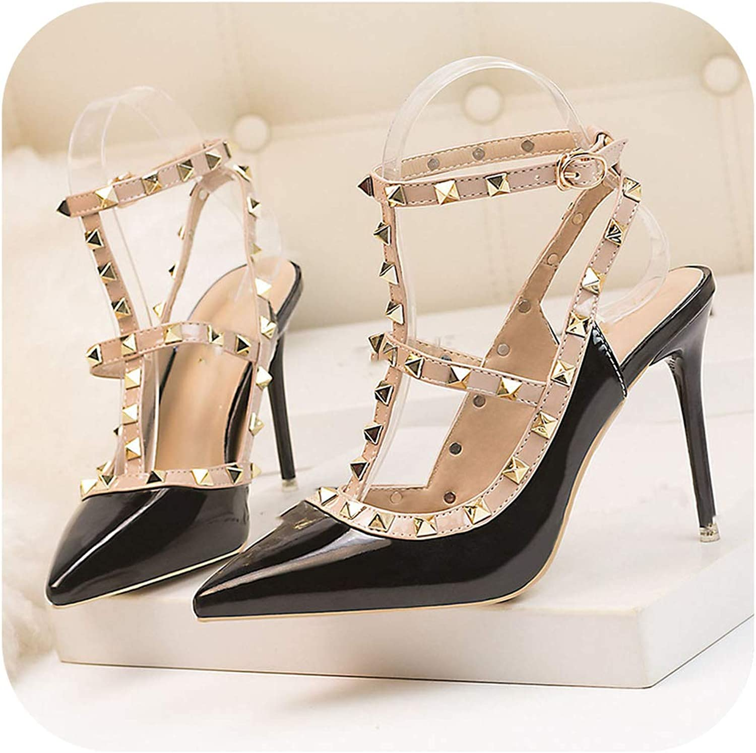 Pumps Women Sexy Nightclub high Heel Patent Leather Metal Rivet Roman Hollow Sandals Female