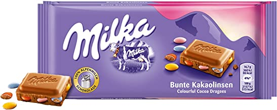 Milka Colorful Cocoa Lenses Chocolate Bar Candy Original German Chocolate 100g/3.52oz (Pack of 2)