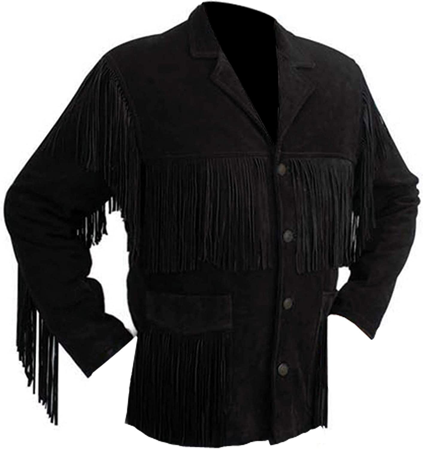 Men's Suede Leather Western Style Cowboy Jacket With Fringe And Beaded Small to 4XL (Large, Black)
