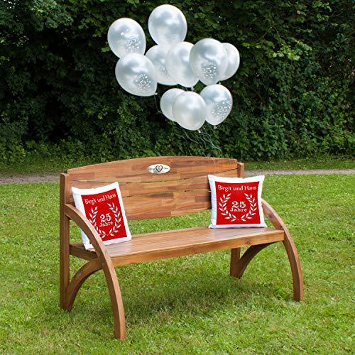 Zilveren bruiloft - set: houten tuinbank met gepersonaliseerde gravureplaat, luchtballonnen en twee kussens cadeauset - persoonlijke geschenken voor zilveren bruiloft Kussen - rood