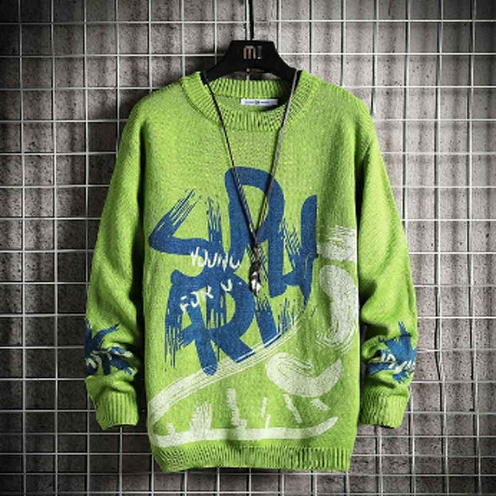 ZYING Men's Sweaters Spring Autumn Winter Clothes Pull Oversize Korea Style Casual Standard Pullovers (Color : L Code)
