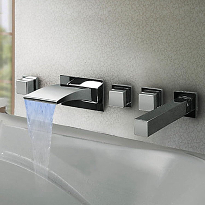 Badzubehr, einfach zu bedienen und benutzerfreund Badewannenarmatur Unterputz-LED-Badewannenarmatur Wasserfall heier und kalter temperaturgesteuerter Verfrbung mit eingebetteter Chromarmatur XIAHE