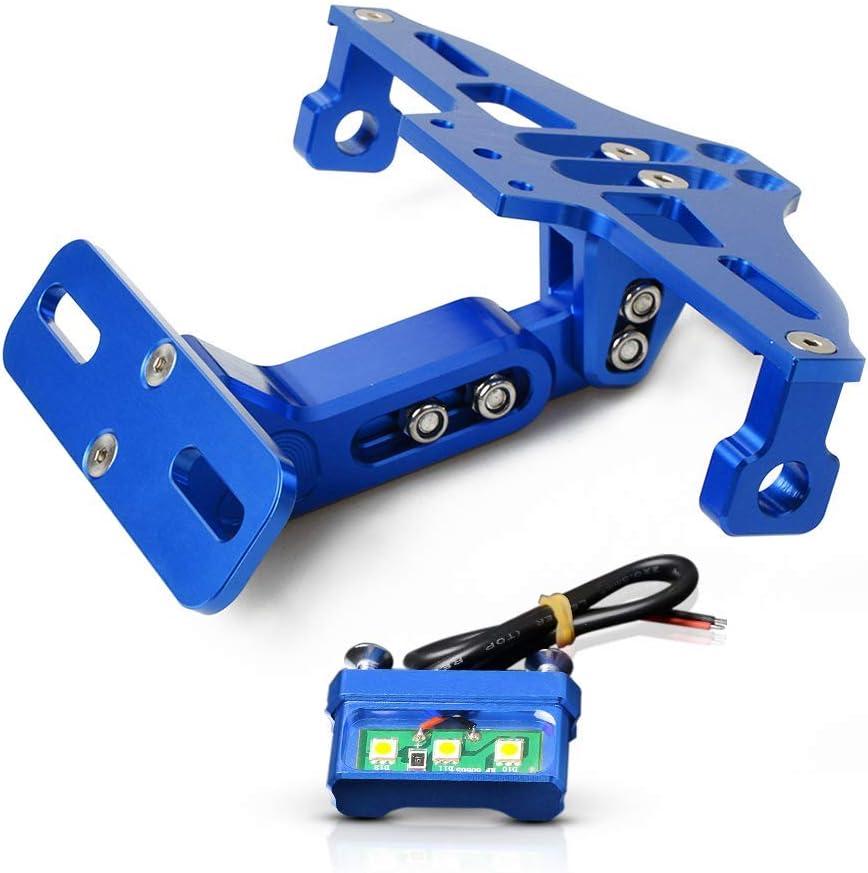 Universal Motorrad Kennzeichenhalter Mit Led Licht Für Yamaha Mt 01 Mt 03 Mt 07 Mt 09 Mt 10 Tmax 530 Tmax 500 S1000rr S1000r S1000xr F800gs F650gs F700gs K800gs Blau Auto