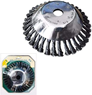 Womdee 8 inch Steel Wire Rotary Weed Brush Rust Removal Brush Universal Lawn Mower Eater Trimmer Head Brush Cutter Tools Parts