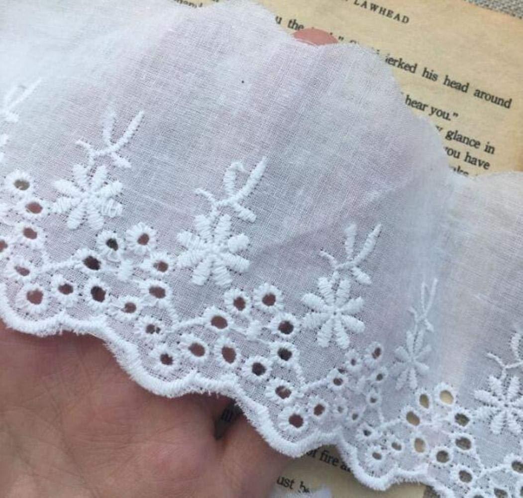 Collar de encaje de flores de bordado de algodón blanco de lujo ...