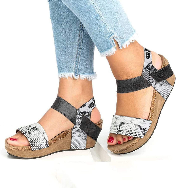 T-JULY Ladies Leopard Sanke Printed Sandals Women Open Toe Ankle Strappy Wedge Platform shoes Beach Footwear for Summer