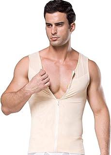 FEOYA Men Body Slim Tummy Control Shirt Stretchy Shapewear Compression Vest Tops Belly Trimmer with Zipper