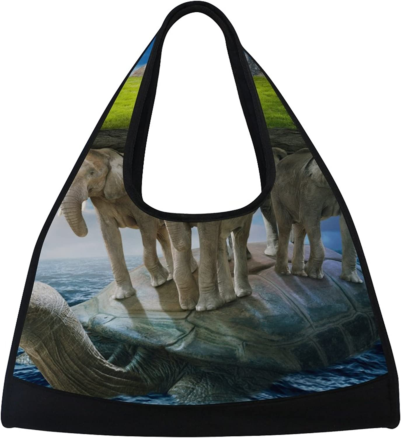 MAPOLO World Turtle Carrying The Elephants That Carries Earth Upon Their Backs Travel Duffel Bag Sports Gym Bag Shoulder Bag