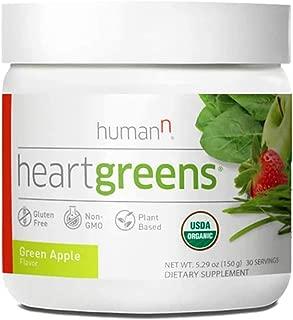 HumanN HeartGreens | Superfood Organic Powder with Wheatgrass, Kale, Spinach, and Spirulina, USDA Organic Non-GMO (Green Apple Flavor, 5.3-Ounce)
