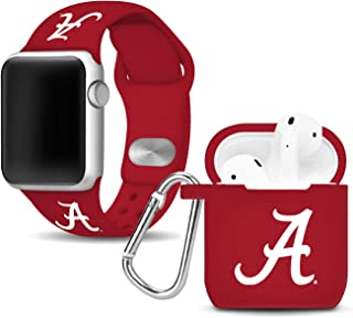 Affinity Bands Alabama Crimson Tide Silicone Watch Band and Case Cover Combo Compatible with Apple Watch and AirPod Case