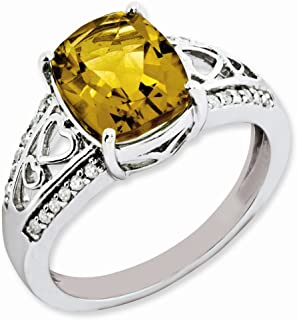 925 Sterling Silver Diamond Whiskey Quartz Band Ring Size 7.00 Stone Gemstone Fine Jewelry Gifts For Women For Her
