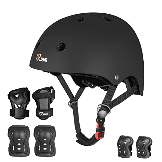 BMX JBM 4 Sizes Extra Pads Diamond Curved Series Full Protective Gear Set Multi Sport Helmet Scooter Inline Skating and Others Skateboard for Biking Knee and Elbow Pads with Wrist Guards