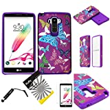 For LG G Stylo LS770 / LG Stylus H631 (TM) 3items Combo: Screen Protector + Stylus Pen + Dual Layer Impact Resistance Hybrid Armor Case (Purple Color Butterfly) -  Snaponcase