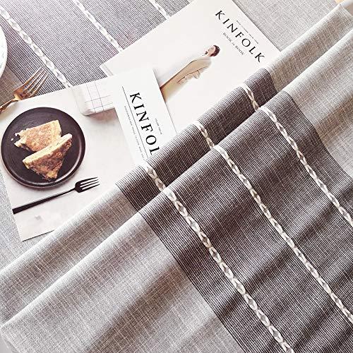 Nordic Girl Heart tafelkleed van katoen en linnen, klein tv-meubel met kwast, rechthoekig, salontafel, wengé, grijze strepen, 130 cm diameter, geschikt voor ronde tafels.