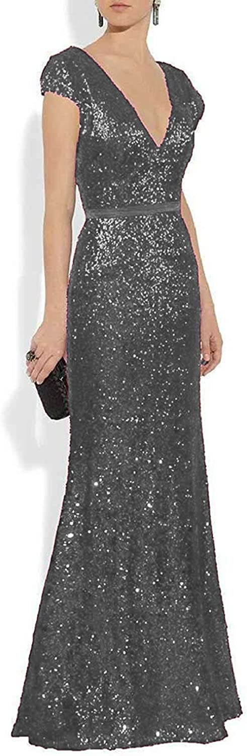 JQLD Women's Sexy Deep V Neck Mermaid Sequin Evening Dresses 2019 Long Mother of The Bride Gowns
