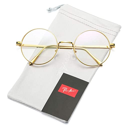 7d4b298a2d9 Pro Acme Retro Round Metal Frame Clear Lens Glasses Non-Prescription