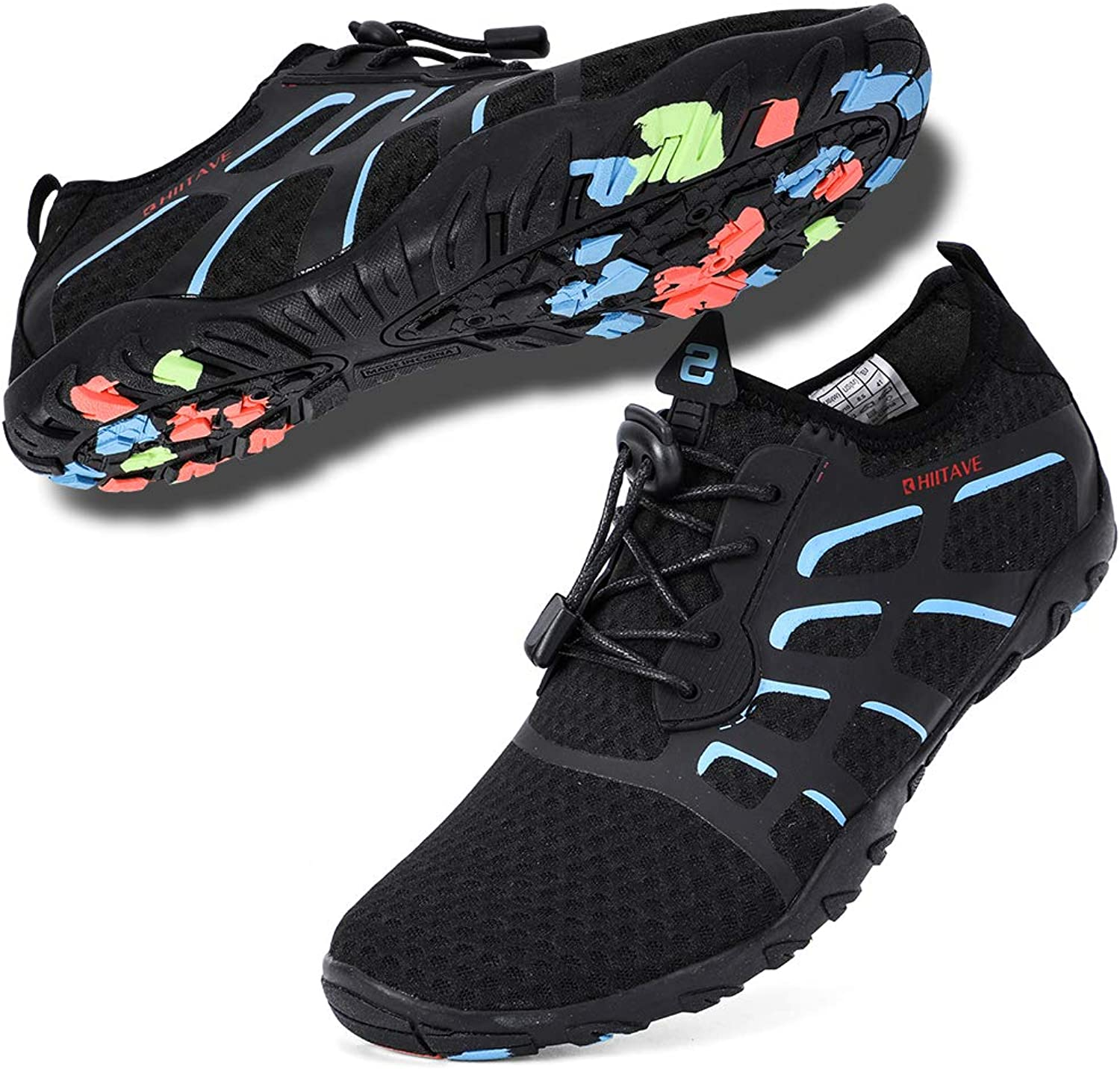 Hiitave Aqua Swim shoes Men, Adults Water shoes for Snokerling, Diving, Surf, Water Sports Black bluee W11 M9