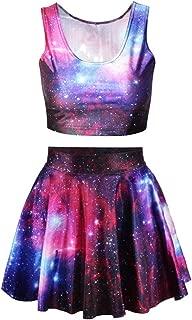 Galaxy Print Crop Tank Top/Pleated Skater Skirts Set Women P1