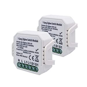 LEOMOCA Zigbee Smart Light Switch Module 110-240V- DIY Relay Switch Home Automation Modules-Smart Life/Tuya Compatible with Alexa Echo Google Home (1gang-2Pack Need Neutral)