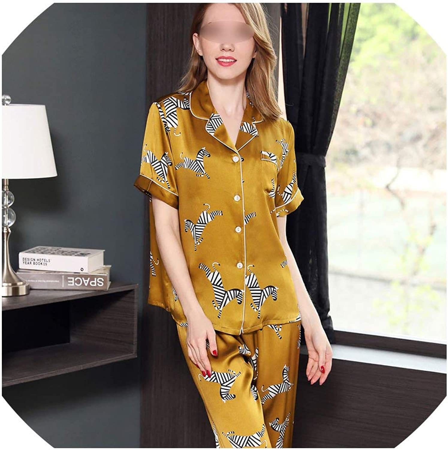 Genuine Silk Pyjamas Women Pajama Set Noble golden Short Sleeve Silk Women