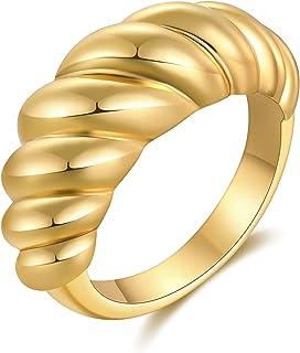 KHKINDPRO 18 قيراط مطلي بالذهب مكتنزة سيجنت الذهب قبة خاتم للنساء عصري الزفاف خواتم سميكة تراص بينكي للرجال