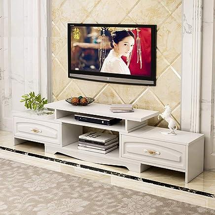 欧式轻奢伸缩电视柜立体浮雕简欧茶几现代简约小户型边几欧式卧室电视机柜地柜组合 (双抽暖白(电视柜))