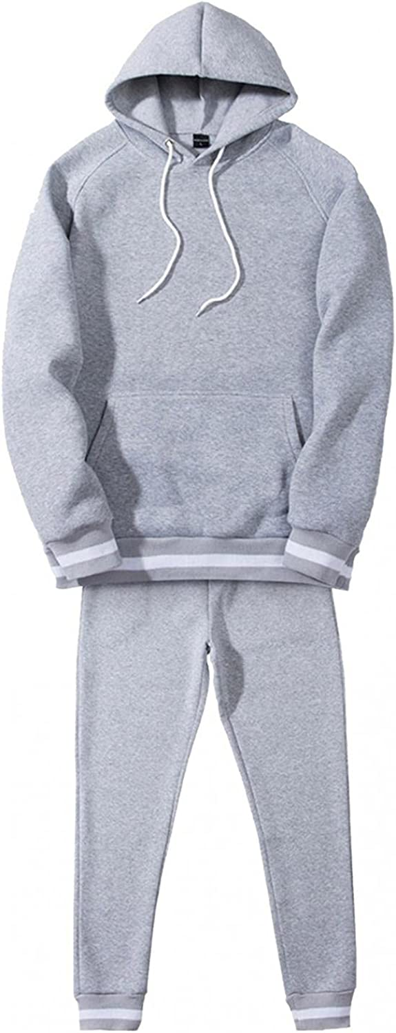 Mens 2 Piece Outfits Solid Hoodies Set Long Sleeve Drawstring Casual Hooded Sweatershirt Mid-Waist Pants Tracksuit