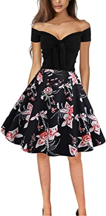 ZHENBAO WomensMusical Note Print Sleeveless O Neck Cocktail Party Dress Retro Vintage Swing Dress