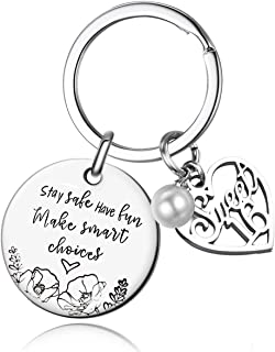 Stay Safe Have Fun Make Good Choices Sweet 16 Years Old Girl Gifts for Birthday, 16th teenage Drivers Keyring , New Driver...