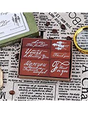 Vintage Wooden Rubber Stamp Set, NogaMoga 6pcs Plant and Wordart Rubber Stamps, Decorative Wood Stamps for DIY Craft, Handmade Card, Scrapbooking, Planners, Diary and Label