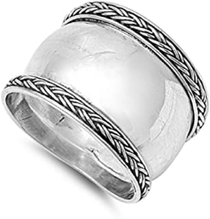 925 Sterling Silver Oxidized Antique Finish Bali Design Ring