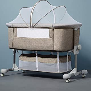 Color : Gray, Size : with Travel bagm Folding Cradle Bed Queen Size Bed Portable Childrens Shaker Cradle Crib