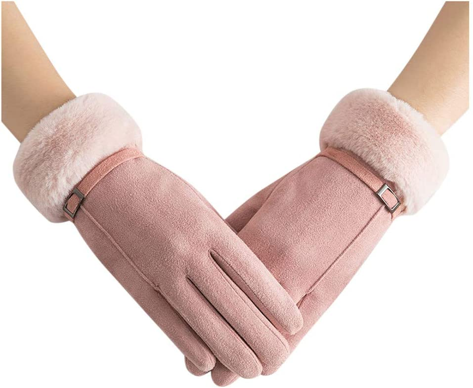 Evangelia.YM Winter Thermal Gloves for Women, Touchscreen Warm Soft Lining Plush Seude Elastic Cuff Using Phone for Driving Cycling Running Gloves Out Soprts Skiing (Pink)