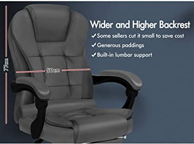 ALFORDSON Massage Executive Office Chair with Footrest PU Leather Home Computer Desk Swivel Ergonomic Chair in Grey Colour