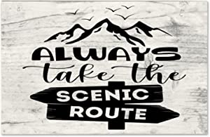 godblessign Always Take The Scenic Route Wood Sign, Decorative Home Wall Art, Sign for Home Wedding Party Farmhouse, Personalized Housewarming Gift, 10x16x0.2
