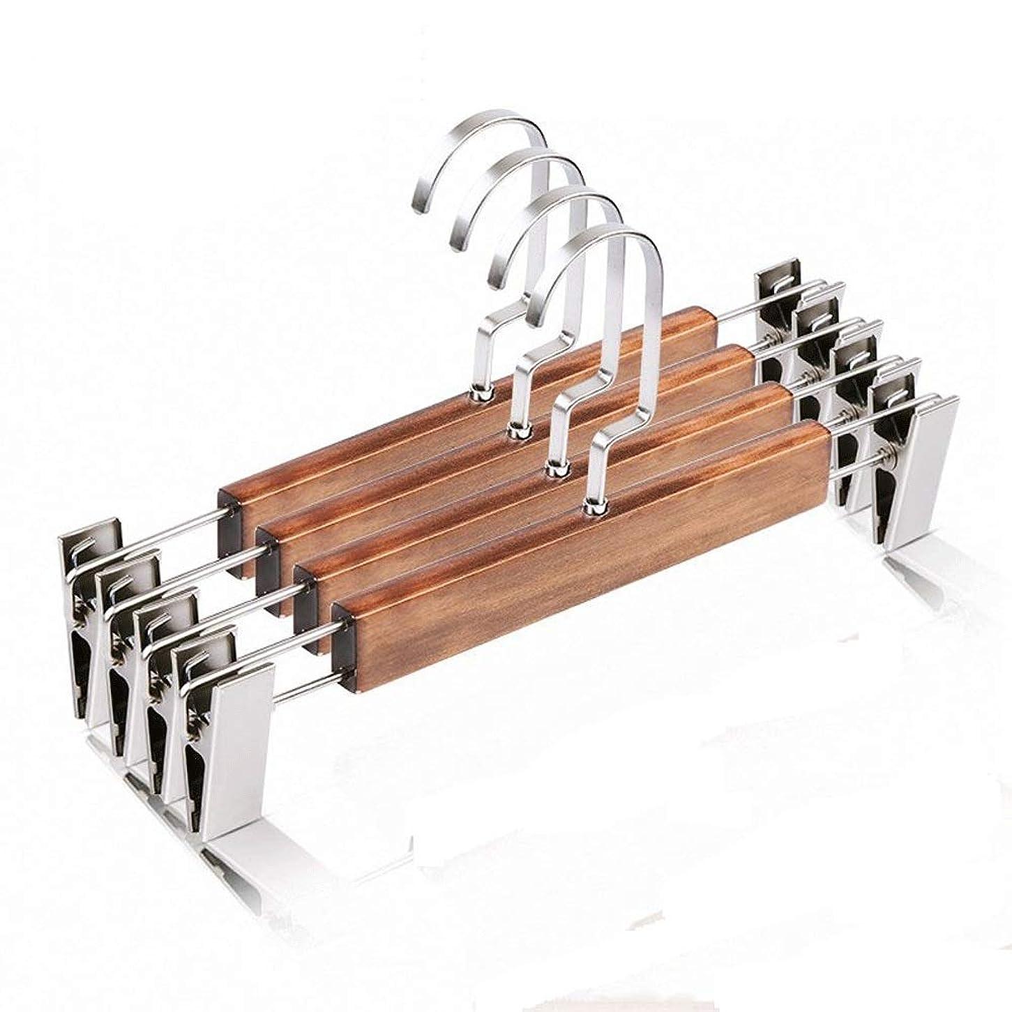 自明椅子注入するハンガー 金属クリップ木製ラックズボンとバッグ10は、実用的な木製ハンガーを平滑化し、頑丈なハンガー (Color : Brown, Size : 31.8cm)