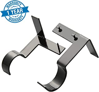CHIMEI Single Curtain Rod Brackets 4pcs No Drilling Holders Tap into Frame Window Holders Black