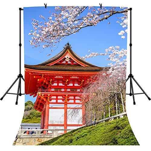 LYLYCTY BJLY11 Fotohintergrund, japanische Landschaft, Frühlings-Kirschblüten, Hintergrund für Reisen, Mottoparty, Geburtstagsparty, Tisch-Banner, Fotoautomaten, Studio-Requisiten, 1,8 x 2,7 m