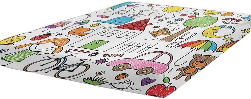 Doodle Regular discount Bedding Fitted Sheet Twin Simple Drawing o Daily bargain sale Childlike Size