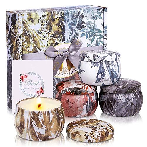 MMTX Duftkerzen Geschenke Set-4 Stück,Natürliches Wachs Aromatherapie Kerzen Freesie Lavender Rosmarin Vanille Weihnachten Valentinstag Geburtstag Geschenk für Frau Damen Mann Freunde für Stressabbau