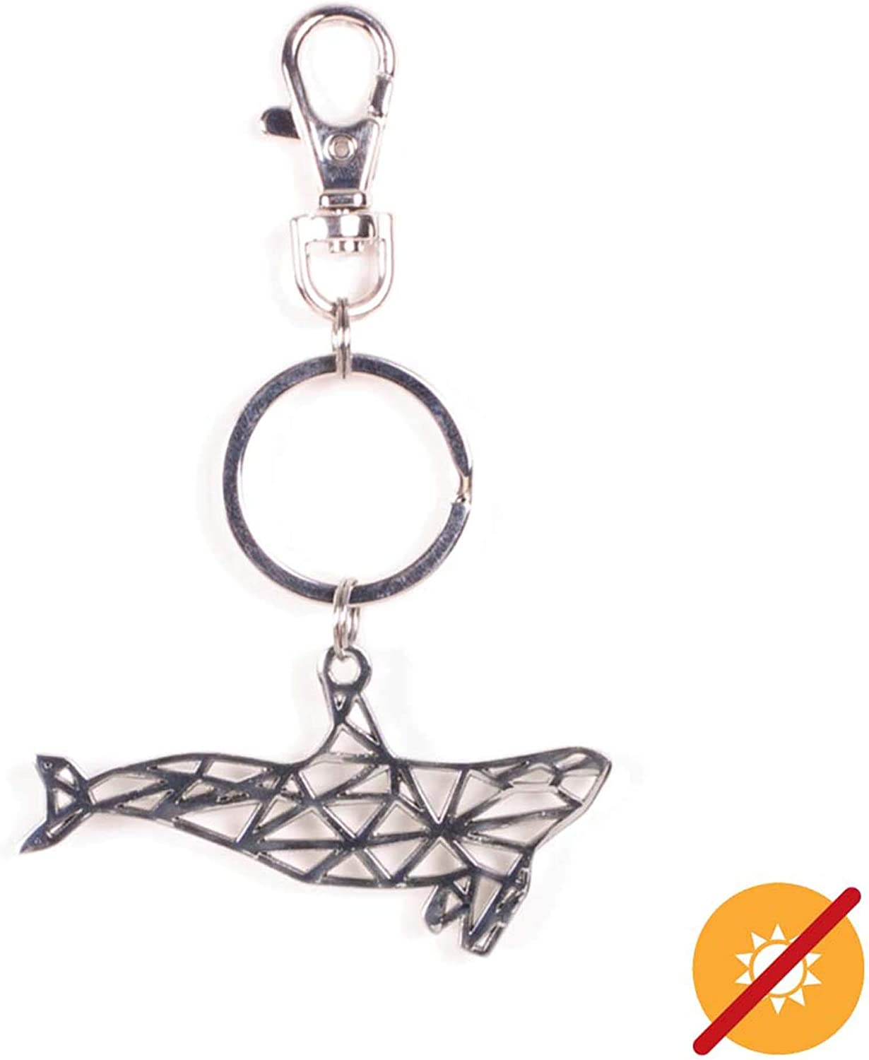 2 wide Changes Color in the Sun Made from Zinc Alloy Rust resistant Del Sol Color-Changing Key Chain