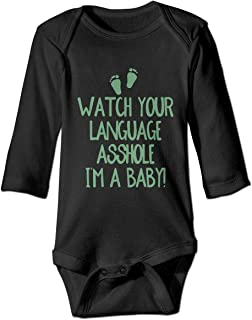 NMDJC CCQ Watch Your Language Asshole I'm Baby Baby Bodysuit Humor Onesie Comfortable Rompers Pajamas