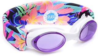 Splash Swim Goggles - Fiji - Fun, Fashionable, Comfortable - Fits Kids and Adults - Won't Pull Your Hair - Easy to Use - High Visibility Anti-Fog Lenses - Original Patent Pending Design.