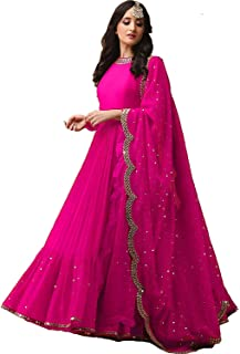 701af640a Everwey Women s Heavy Net Embroidered Semi-Stitched Lehenga Choli  (NF-mirror gown black